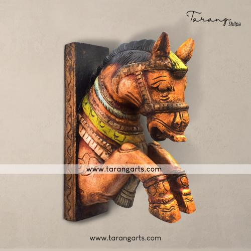HAND PAINTED HORSE BRACKET VAAGAI WOODEN SCULPTURES WALL HANGING HOME DECOR HOME TEMPLE TARANG WOODEN HANDICRAFTS