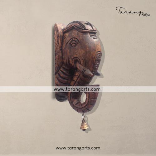 ELEPHANT VAAGAI WITH BELL WOODEN SCULPTURES WALL HANGING HOME DECOR HOME TEMPLE TARANG WOODEN HANDICRAFTS