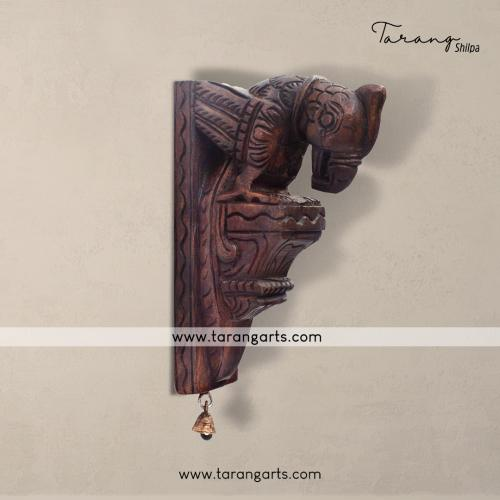 PARROT BRACKET WITH BELL VAAGAI WOODEN SCULPTURES WALL HANGING HOME DECOR HOME TEMPLE TARANG WOODEN HANDICRAFTS
