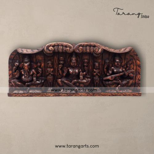 LAKSHMI GANESHA SARASWATHI PANEL VAAGAI WOODEN SCULPTURES WALL HANGING HOME DECOR HOME TEMPLE TARANG WOODEN HANDICRAFTS