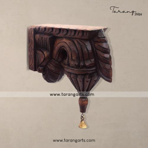 VAZHAIPOO BRACKET WITH BELL VAAGAI WOODEN SCULPTURES WALL HANGING HOME DECOR HOME TEMPLE TARANG WOODEN HANDICRAFTS