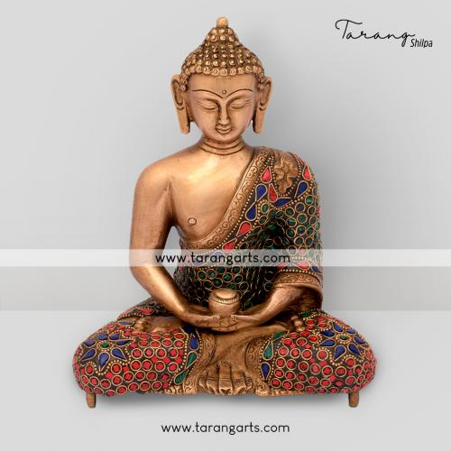 BUDDHA STATUE WITH STONE WORK BRASS IDOL BRASS SCULPTURES HOME DECOR TARANG HANDICRAFTS