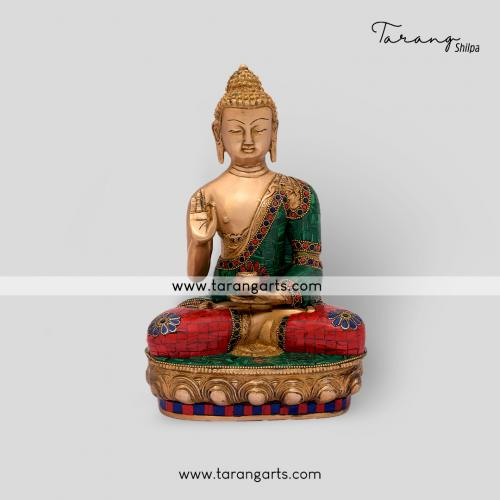 BUDDHA STATUE WITH STONE WORK BRASS IDOL BRASS SCULPTURES HOME DECOR TARANG HANDICRAFTS
