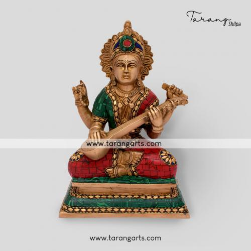 SARASWATHI STATUE WITH STONE WORK BRASS IDOL BRASS SCULPTURES HOME DECOR TARANG HANDICRAFTS