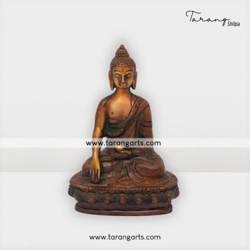 BUDDHA ANTIQUE STATUE BRASS IDOL BRASS SCULPTURES HOME DECOR TARANG HANDICRAFTS