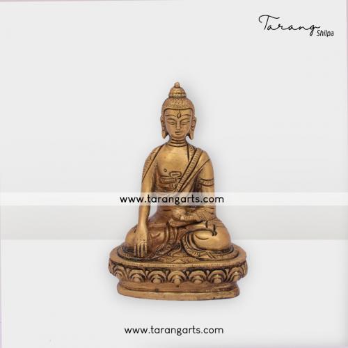 BUDDHA STATUE BRASS IDOL BRASS SCULPTURES HOME DECOR TARANG HANDICRAFTS