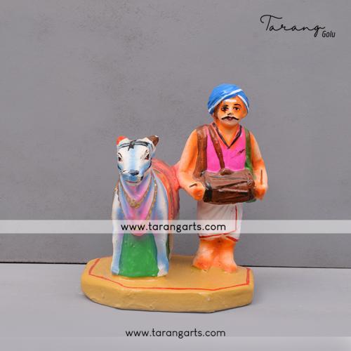 BOOM BOOM COW STANDING WITH MUSICIAN HANDMADE GOLU DOLL DUSSERA DOLL TARANG HANDICRAFTS