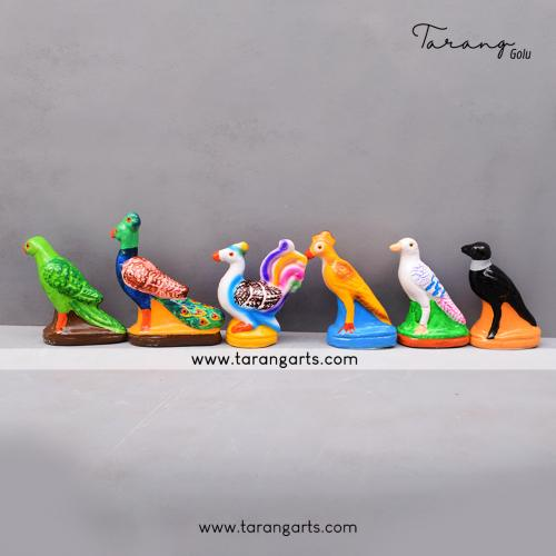 BIRDS SET OF 6 HANDMADE DUSEERA DOLL GOLU DOLL BOMMALU TARANG HANDICRAFTS
