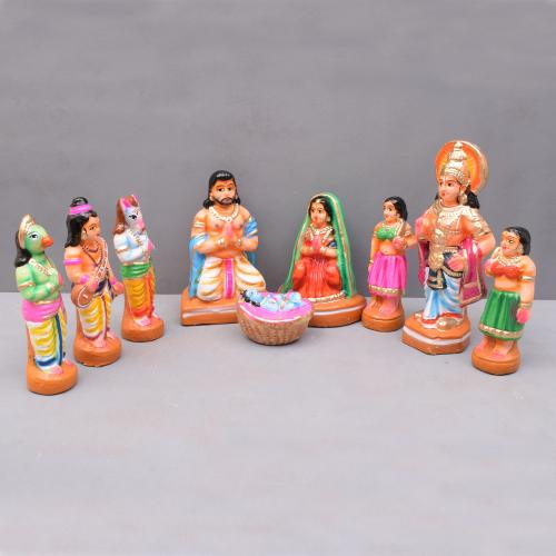 KRISHNA BIRTHDAY SET OF 9 HANDMADE DUSSERA DOLLS GOLLU DOLLS TARANG HANDICRAFTS