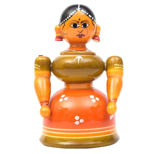 WOODEN LADY DOLL ETIKOPPAKA HANDMADE DUSSERA DOLLS GOLLU DOLLS HOME DECOR TARANG HANDICRAFTS