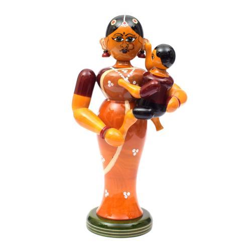 MOTHER AND BABY ETIKOPPAKA WOODEN TOYS HANDMADE DUSSEHRA DOLLS GOLU DOLLS HOME DECOR TARANG HANDICRAFTS