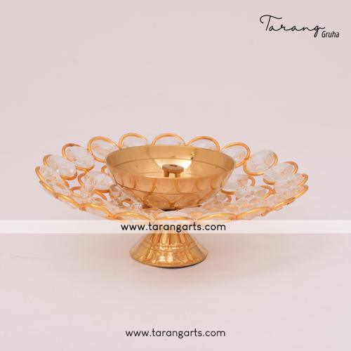 FLOWER SHAPE BRASS DIYA FANCY BRASS DEEPAM OIL LAMP FOR HOME TEMPLE PUJA DECOR