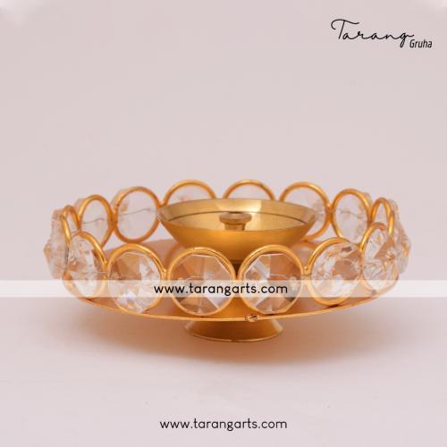 FLOWER SHAPE BRASS DIYA FANCY BRASS CRYSTAL DEEPAM OIL LAMP FOR HOME TEMPLE PUJA DECOR