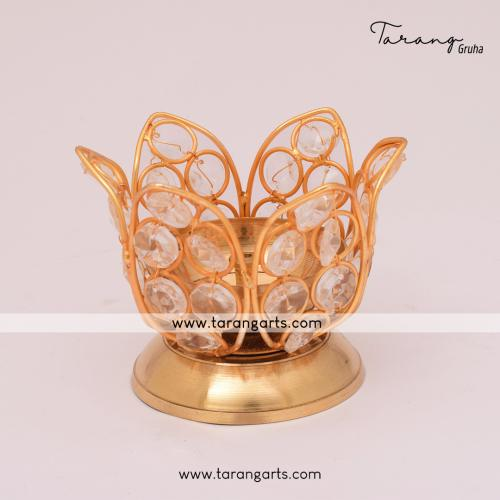 LOTUS SHAPE BRASS AKHAND DIYA  FANCY BRASS CRYSTAL DEEPAM OIL LAMP FOR HOME TEMPLE PUJA DECOR