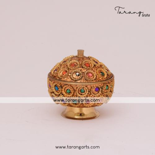 BRASS KUMKUM BOX ROUND SHAPED FOR POOJA HOME TEMPLE PUJA DECOR