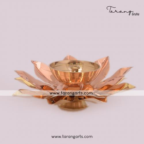 LOTUS SHAPE BRASS AKHAND DIYA FANCY BRASS DEEPAM OIL LAMP FOR HOME TEMPLE PUJA DECOR