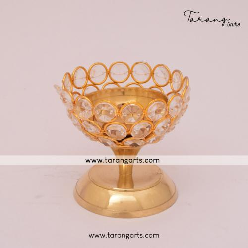 FLOWER SHAPE BRASS FANCY BRASS CRYSTAL DEEPAM OIL LAMP FOR HOME TEMPLE PUJA DECOR