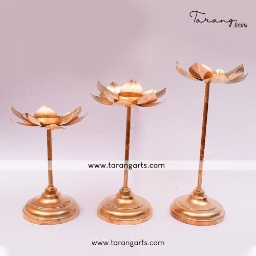LOTUS SHAPE IRON CANDLE STAND SET OF 3 FOR HOME TEMPLE PUJA DECOR