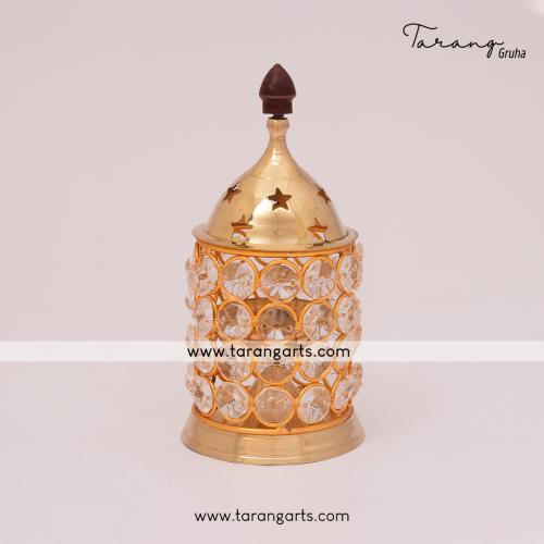 BRASS AKHAND DIYA WITH CRYSTAL FANCY BRASS DEEPAM OIL LAMP HOME TEMPLE PUJA DECOR