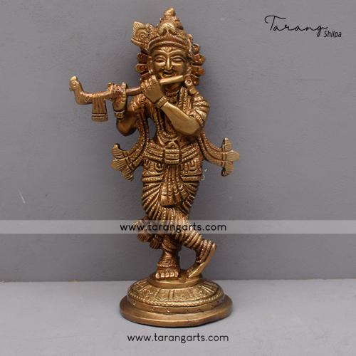 BRASS KRISHNA IDOL ANTIQUE FINISH BRASS FIGURINE BRASS STATUE HOME DECOR TEMPLE TARANG HANDICRAFTS