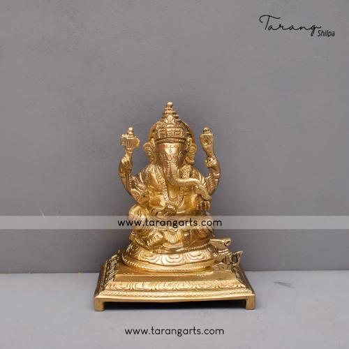 BRASS GANESHA IDOL  BRASS FIGURINE BRASS STATUE HOME DECOR TEMPLE TARANG HANDICRAFTS