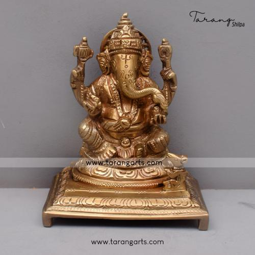 BRASS GANESHA IDOL ANTIQUE FINISH BRASS FIGURINE BRASS STATUE HOME DECOR TEMPLE TARANG HANDICRAFTS
