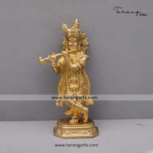 BRASS KRISHNA IDOL BRASS FIGURINE BRASS STATUE HOME DECOR TEMPLE TARANG HANDICRAFTS