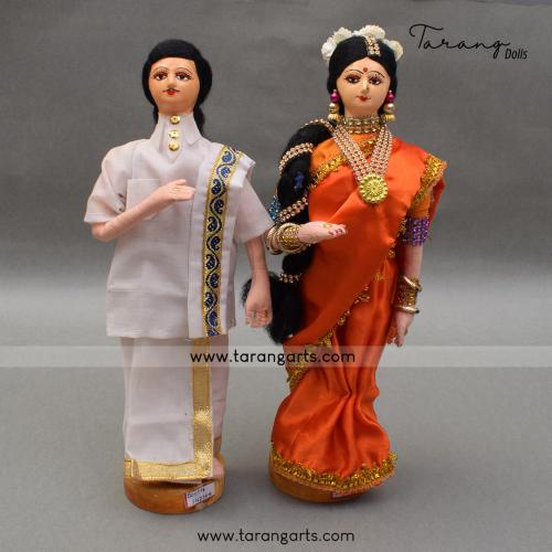 SOUTH INDIAN BRIDE AND GROOM BENGALI TRADITIONAL GOLLU DOLLS HANDMADE HOME DECOR TARANG HANDICRAFTS