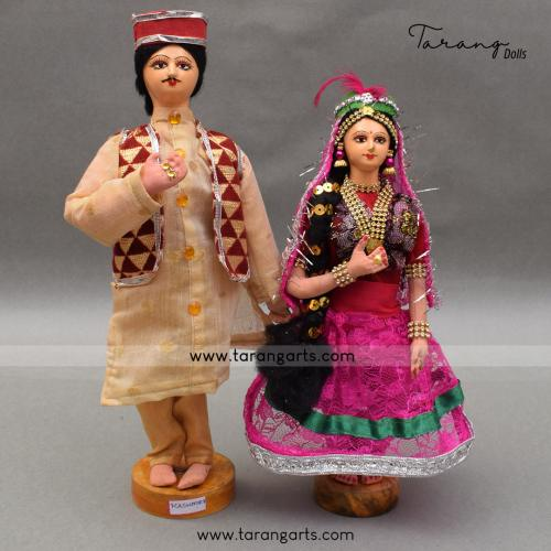 KASHMIRI BRIDE AND GROOM BENGALI TRADITIONAL GOLLU DOLLS HANDMADE HOME DECOR TARANG HANDICRAFTS
