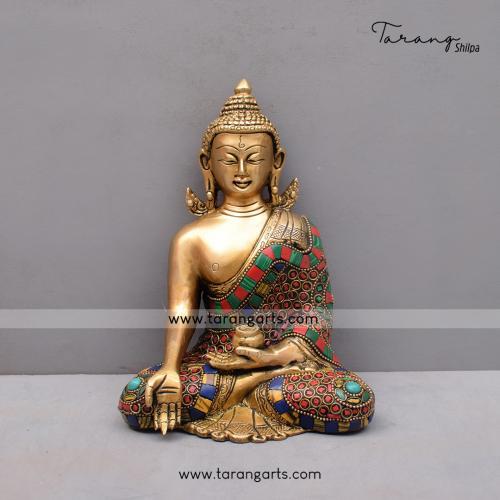 BRASS KUNDAL BUDDHA IDOL WITH STONE