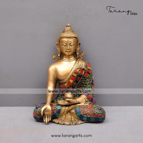 BRASS KUNDAL BUDDHA IDOL WITH STONE WORK