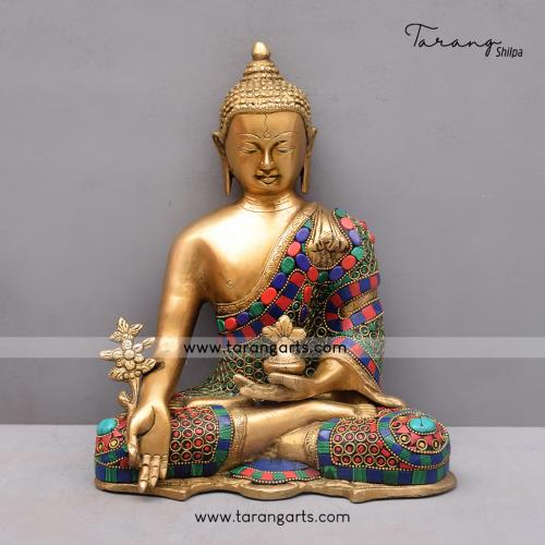 BRASS KUNDAL BUDDHA IDOL WITH STONE WORK