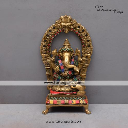 BRASS GANESHA IDOL WITH STONE WORK