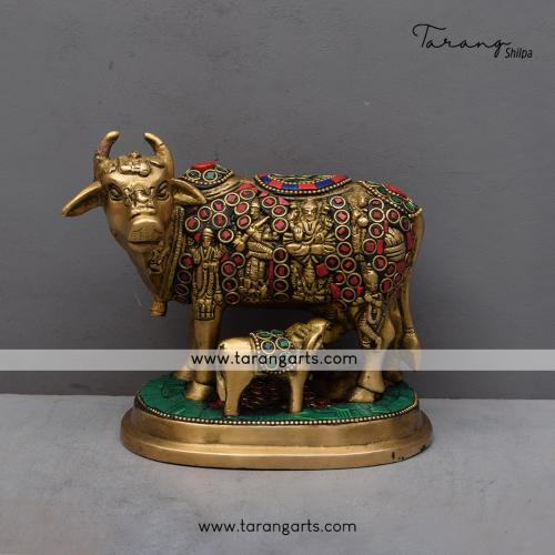BRASS COW AND CALF IDOL WITH STONE WORK