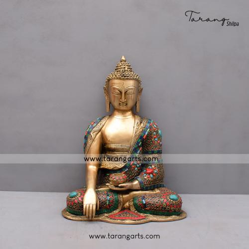 BRASS BUDDHA IDOL WITH STONE WORK