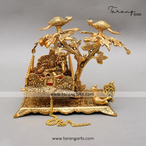 BUTTER KRISHNA JHULA WITH TREE AND PEACOCK