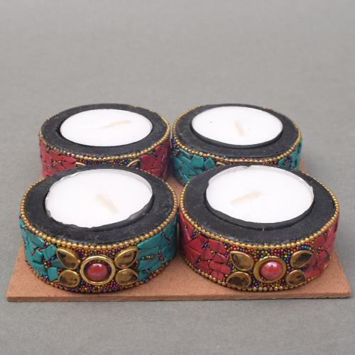 WOODEN TEA  LIGHT CANDLE HOLDER CANDLE STAND WITH NEPALI STONE WORK