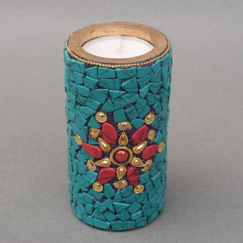 WOODEN CANDLE HOLDER CANDLE STAND WITH NEPALI STONE WORK