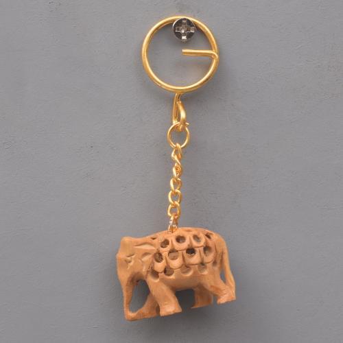 ORIGINAL MYSORE SANDALWOOD CHANDAN ELEPHANT KEY CHAIN