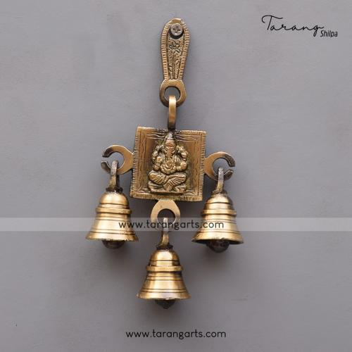 BRASS ANTIQUE GANESHA LAKSHMI WALL HANGING WITH BELL