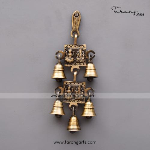 BRASS ANTIQUE LAKSHMI GANESHA WALL HANGING WITH BELL