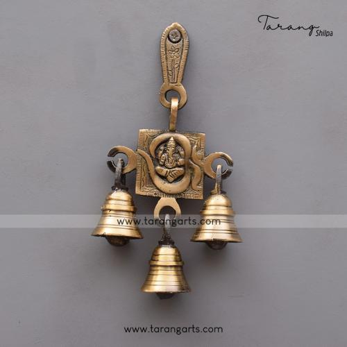 BRASS ANTIQUE OM GANESHA WALL HANGING WITH BELL
