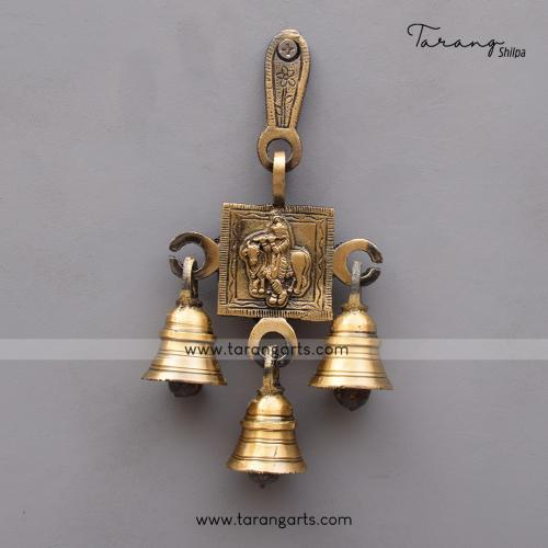 BRASS ANTIQUE COW KRISHNA WALL HANGING WITH BELL