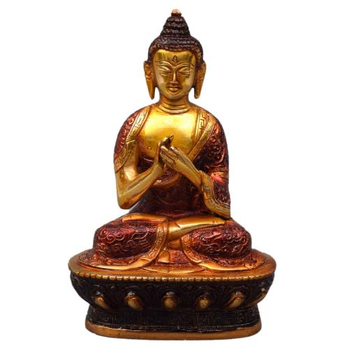 BRASS BUDDHA IDOL WITH ENAMEL PAINTING