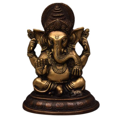 BRASS GANESHA IDOL ANTIQUE FINISH