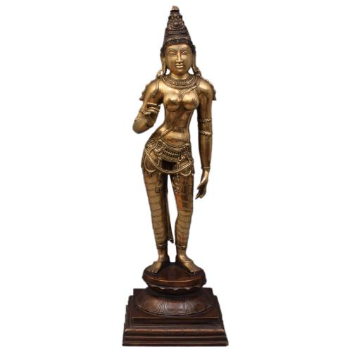BRASS PARVATHY IDOL ANTIQUE FINISH