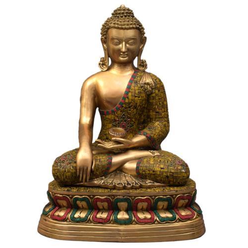 BRASS BUDDHA IDOL ANTIQUE FINISH WITH STONE WORK
