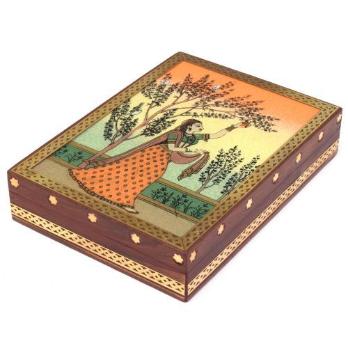 WOODEN LADY GEMSTONE BOX