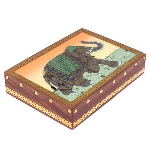 WOODEN ELEPHANT GEMSTONE BOX