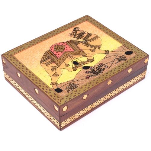 WOODEN CAMEL GEMSTONE BOX